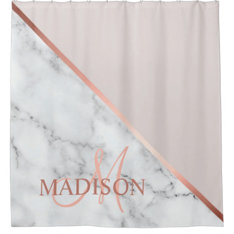 Modern Pink Monogrammed Initial Elegant Shower Curtain