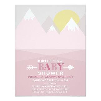 Modern Pink Mountain Sun Baby Shower Card