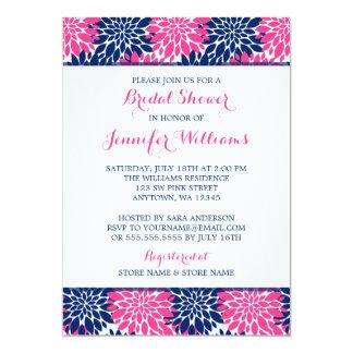 Modern Pink Navy Blue Flower Bridal Shower Card