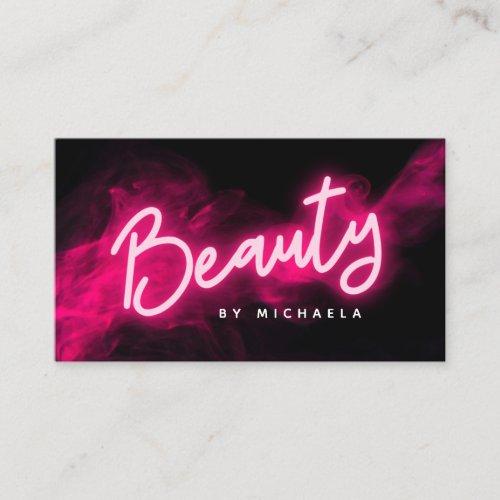 Modern Pink Neon  Smoke Beauty Salon Business Card