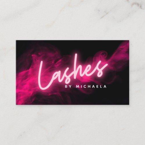 Modern Pink Neon  Smoke LashesEyelash Extensions Business Card