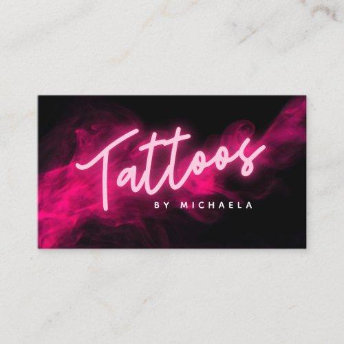 Modern Pink Neon  Smoke Tattoo Artist Business Card