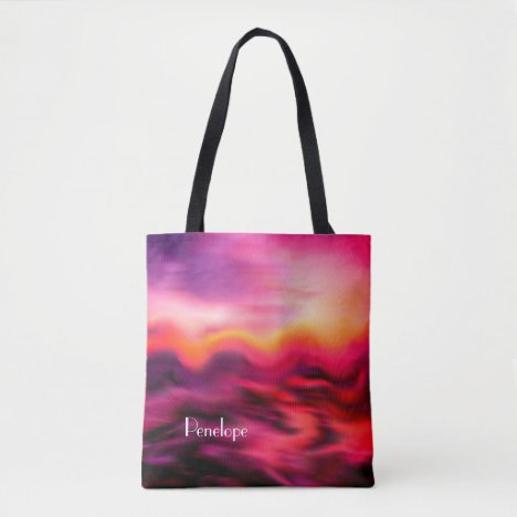 Modern Pink Ocean Sunrise Abstract with Name Tote Bag