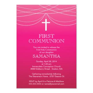 Modern Pink Ombre Garland Cross Communion Card