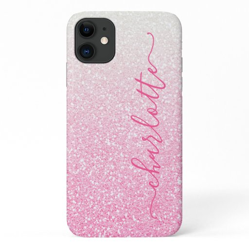 Modern Pink Ombre Glitter Girly Chic Personalized iPhone 11 Case