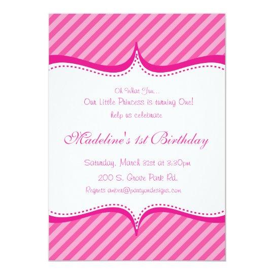 Modern Pink on Hot Pink Stripe Princess Invitation