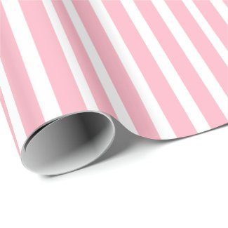 Modern Pink On White Stripes Pattern Wrapping Paper