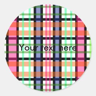 Modern pink orange and green plaid classic round sticker