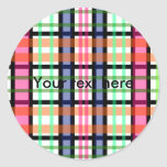 Modern pink orange and green plaid round stickers