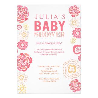 Modern Pink Orange Floral Baby Shower Invite