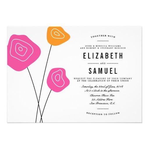 Modern Pink Orange Flowers White Wedding Invite Custom Invitation