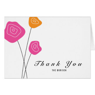 Modern Pink Orange Roses White Thank You Note Card