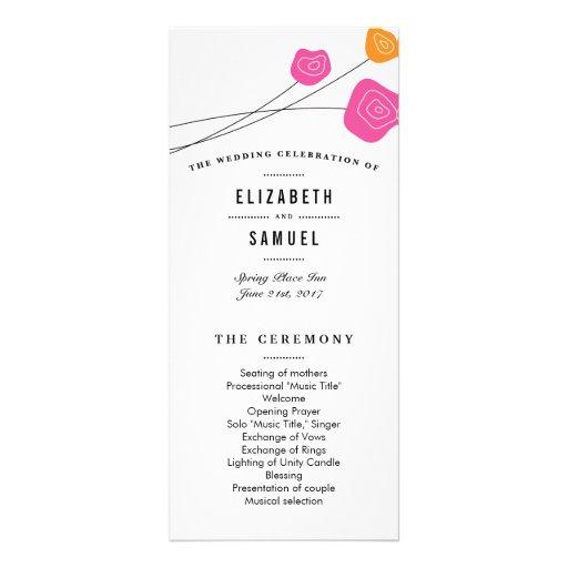 Modern Pink Orange Roses White Wedding Program Rack Card Template
