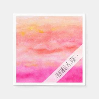 Modern pink orange sunset watercolor wash napkin
