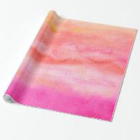 Modern pink orange sunset watercolor wash wrapping paper
