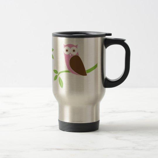 Modern Pink Owl Tree Travel Mug