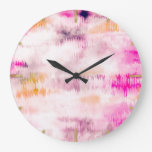 Modern Pink Paint Cloudy Tie-Dye Abstract Art  Large Clock