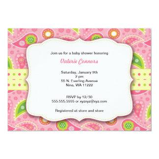 Modern Pink Paisley Girl Baby Shower Invite