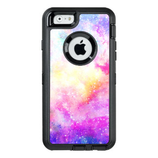 Modern pink pastel nebula hand painted watercolor OtterBox defender iPhone case