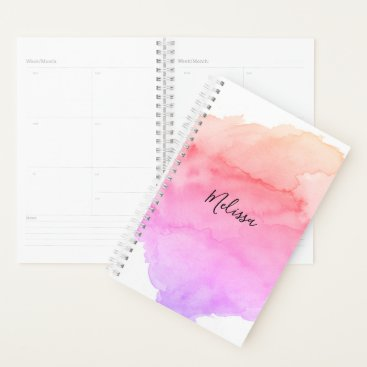 Aztec Themed Modern Pink Peach Purple Watercolor | Add NAME Planner