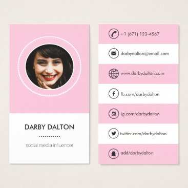 Professional Business Modern Pink Photo Social Media Business Card