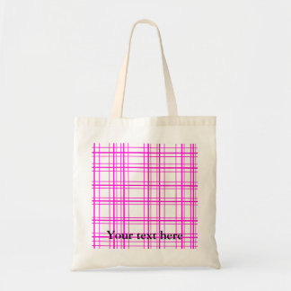Modern pink plaid on white background canvas bags