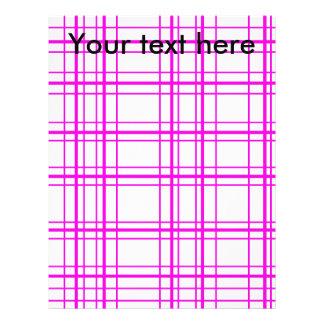 "Modern pink plaid on white background 8.5"" x 11"" flyer"