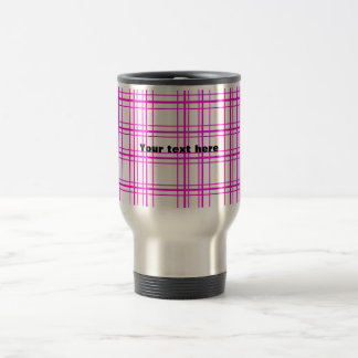 Modern pink plaid on white background 15 oz stainless steel travel mug