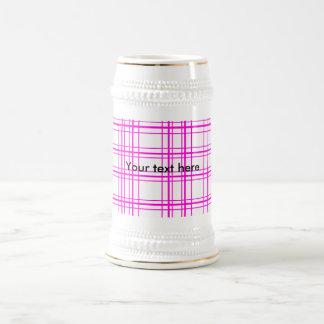Modern pink plaid on white background 18 oz beer stein