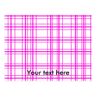 Modern pink plaid on white background postcard