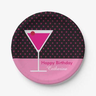 Modern Pink Polka Dot Martini Birthday on Black Paper Plate