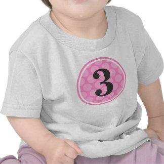 Modern Pink Polka Dot Third Birthday Girl Number 3 Tees