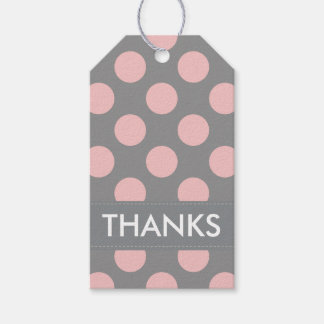 Modern Pink Polka Dots Thank You Pack Of Gift Tags