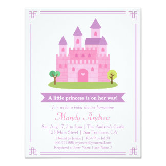 Modern Pink Princess Castle Baby Girl Shower Party 4.25x5.5 Paper Invitation Card