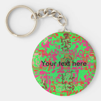 Modern pink psychedelic on green background basic round button keychain