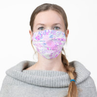 Modern pink purple chic floral watercolor pattern cloth face mask