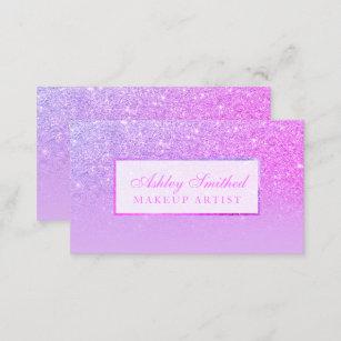 Modern Pink Purple Glitter Lavender Ombre Makeup Business Card
