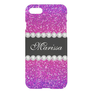 Modern Pink Purple Glitter Ombre Bling Cool iPhone 7 Case