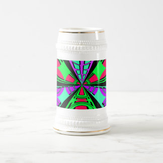 Modern pink purple green semi-circle design 18 oz beer stein