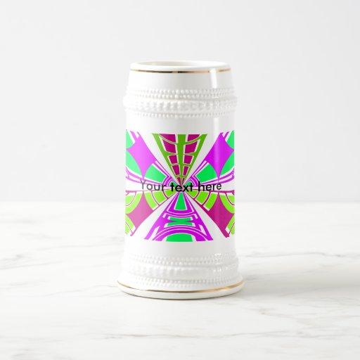 Modern pink purple green white semi-circle design 18 oz beer stein