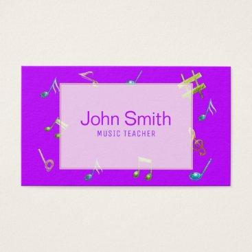 Professional Business Modern Pink Purple Music Teacher Business Card