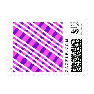 Modern Pink Purple Plaid Postage
