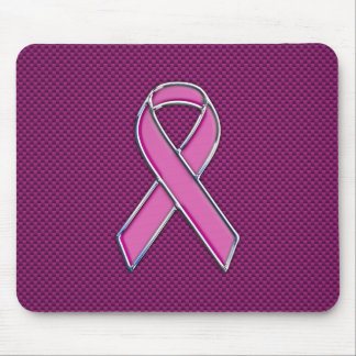 Modern Pink Ribbon Awareness Design Mouse Pad