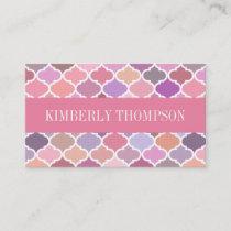 Modern Pink Rosal Quatrefoil Business Card