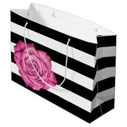 Modern Pink Rose Black White Striped Wedding Party Large Gift Bag
