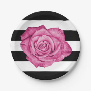 Black And White Stripes Pink Roses Plates Zazzle