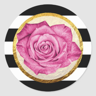 Modern Pink Rose Faux Gold Foil Striped Wedding Classic Round Sticker