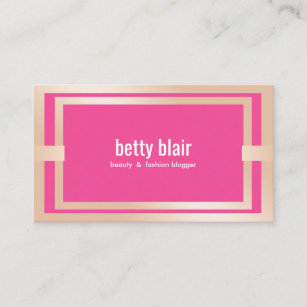 Pink blogger business cards zazzle modern pink rose gold beauty and fashion blogger business card colourmoves