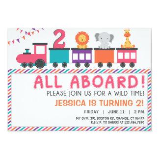 Modern Pink Safari Train Birthday Invite
