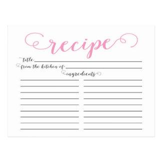Modern Pink Script Bridal Shower Recipe Cards